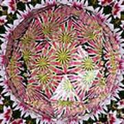 Tulips Kaleidoscope Under Polyhedron Glass Art Print