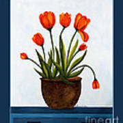 Tulips On A Blue Buffet With Borders Print by Barbara Griffin