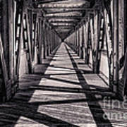 Tulsa Pedestrian Bridge In Black And White Art Print by Tamyra Ayles