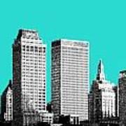 Tulsa Skyline - Aqua Art Print
