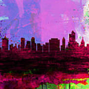 Tulsa Watercolor Skyline 2 Art Print