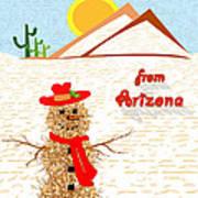 Arizona Tumbleweed Snowman Art Print