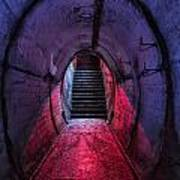 Tunnel And Stairs Bathed In Blue And Red Light Art Print