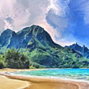 Tunnels Beach Kauai Art Print