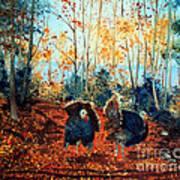 Turkey Dance On The Pond Road Art Print