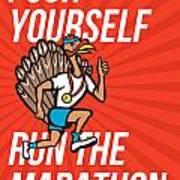 Turkey Run Marathon Runner Poster Art Print