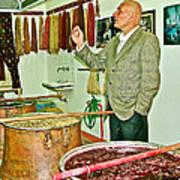 Turkish Rug Salesman Explains About Natural Dye Vats In Weaving Factory In Avanos-turkey  Art Print