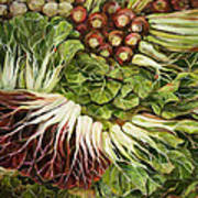 Turnip And Chard Concerto Art Print by Jen Norton