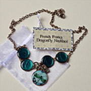 Turquoise French Francs Dragonfly Necklace Art Print