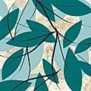 Turquoise Leaves Art Print