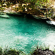 Turquoise River Waterfall And Pond Art Print