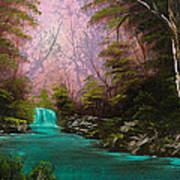 Turquoise Waterfall Art Print by C Steele