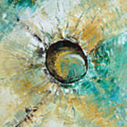 turquoise white earth tones modern abstract MIRACLE PLANET by Chakramoon Art Print