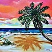 Turtle On Beach Art Print