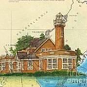 Turtle Rock Lighthouse Pa Chart Map Art  Art Print