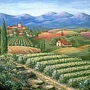 Tuscan Vineyard And Village  Art Print