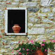 Tuscan Window And Flower Pot Art Print