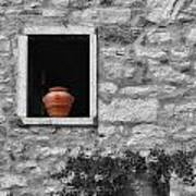 Tuscan Window And Pot Bw And Color Art Print