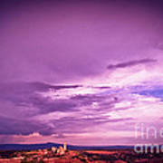 Tuscania Village With Approaching Storm  Italy Art Print