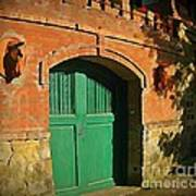 Tuscany Door With Horse Head Carvings Art Print
