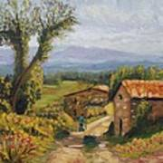 Tuscany Farm Road Art Print