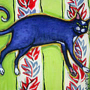 Tuxedo Cat On A Cushion Art Print