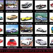 Twenty Corvettes Art Print
