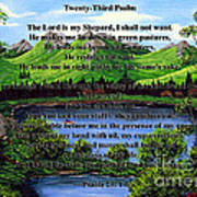 Twenty-third Psalm And Twin Ponds Art Print