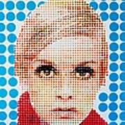 Twiggy Blue Dot  Art Print by Grant  Swinney