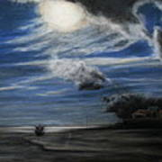 Twilight Beach Art Print by Rachael Curry