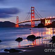 Twilight - Beautiful Sunset View Of The Golden Gate Bridge From Marshalls Beach. Art Print
