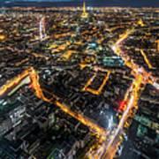 Twilight City View Of Paris Art Print