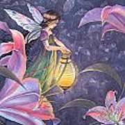 Twilight Lilies Art Print