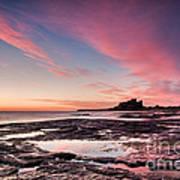 Twilight On Harkness Rocks Bamburgh Art Print