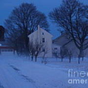 Twilight Snow On Bauman Road Art Print by Anna Lisa Yoder