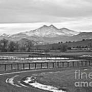 Twin Peaks Mt Meeker And Longs Peak Bw Country Art Print