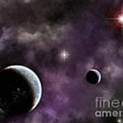 Twin Planets With Nebula Art Print