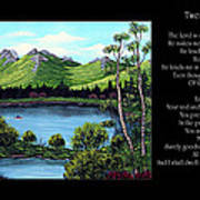 Twin Ponds And 23 Psalm On Black Horizontal Art Print