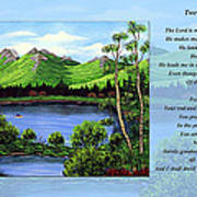 Twin Ponds And 23 Psalm On Blue Horizontal Art Print