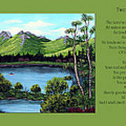 Twin Ponds And 23 Psalm On Green Horizontal Art Print