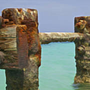 Twin Rusted Dock Piers Of The Caribbean Art Print