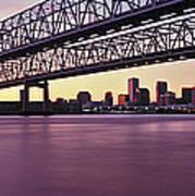 Twins Bridge Over A River, Crescent Art Print