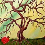 Twisted Tree And Roses Art Print