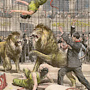 Two Acrobats Fall Into The  Lions' Art Print