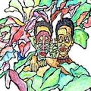 Two African Men In Leaves Art Print by Glenn Calloway