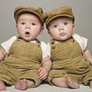 Two Babies In Matching Hat And Overalls Art Print