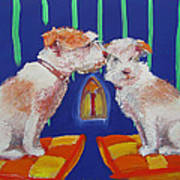 Two Border Terriers Together Art Print