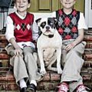 Two Boys And Their Dog Art Print
