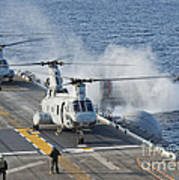 Two Ch-46e Sea Knight Helicopters Art Print