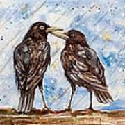 Two Crows On A Rainy Day Art Print